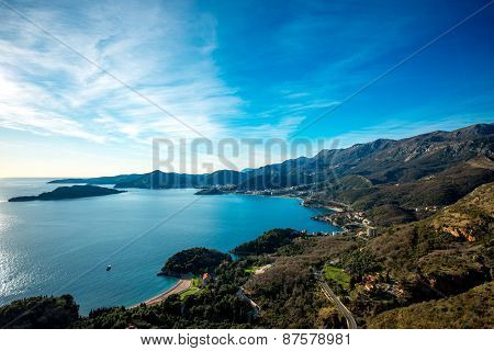 Landscape of Adriatic sea coast in Montenegro
