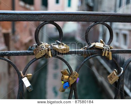 Love Locks On A Bridge In Venice