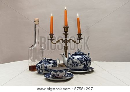 Old Candlestick And Tea Set