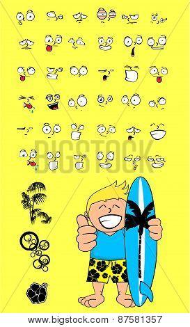 happy surfer kid cartoon expression set