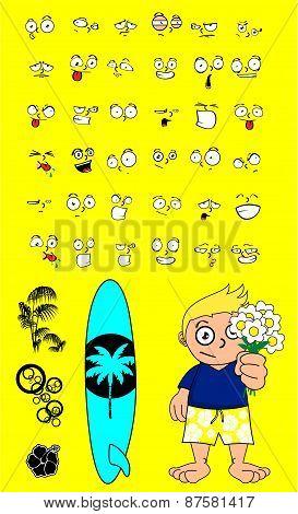 flowers surfer kid cartoon expression set