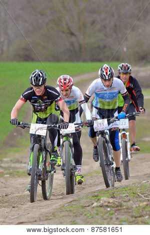 GALATI, ROMANIA - APRIL 05: Unknown racers on the competition of the mountain bike