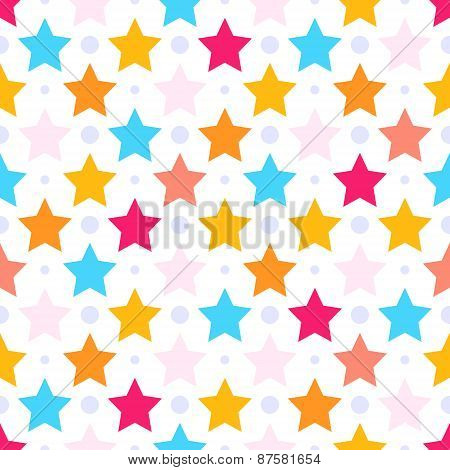 Seamless Vector Pattern With Colorful Stars.good For Children's Stuff, Wrapping Paper, Scrapbooking