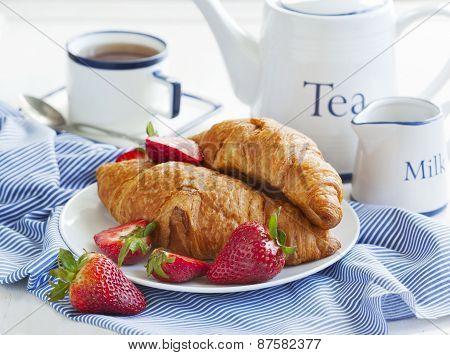 Fresh Croissants And Cup Of Tea
