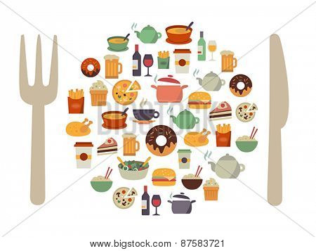 Food icons in form of a plate with cutlery. Modern, flat design style.