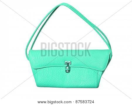 Turquoise purse isolated on white background