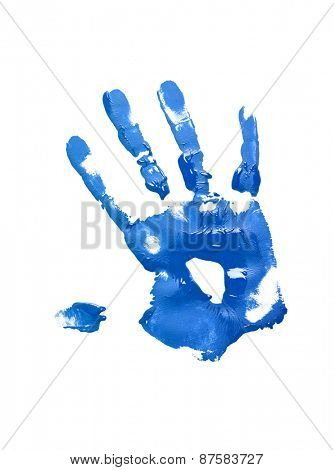 Blue handprint on white