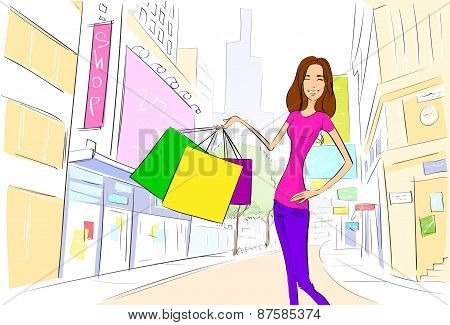 shopping woman on city street draw sketch