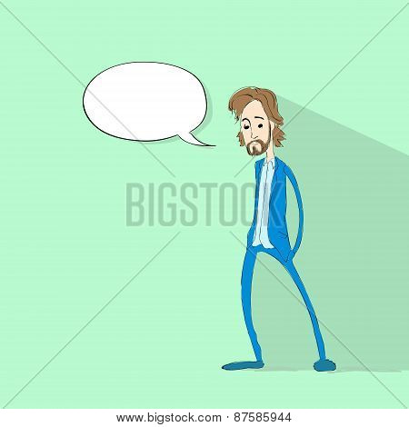 man chat communication social network color flat icon