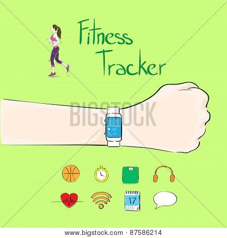 hand fitness tracker wrist sport bracelet woman exercise workout girl wear smart watch flat icon