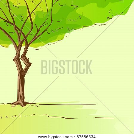 green tree with leaves and brown bark copy space design template vector