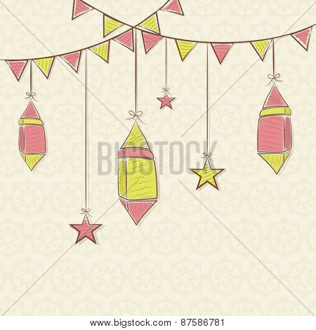 Holy month of Muslim community, Ramadan Kareem celebration greeting card with colorful hanging Arabic lamps.