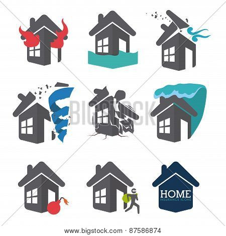 Set of Home Disaster Insurance designs, vector illustration.