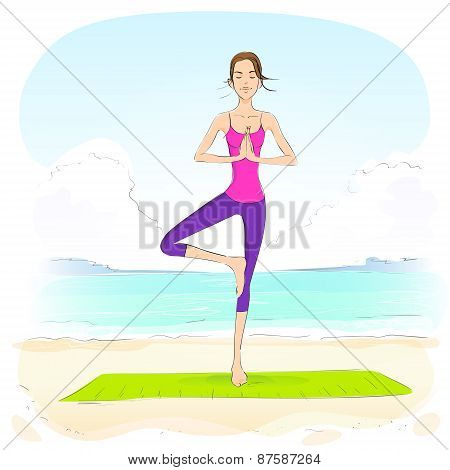 woman standing in yoga lotus position closed eyes relaxing doing exercises