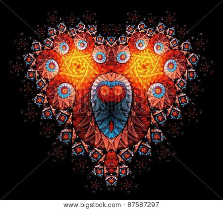 Symbolic diamond heart-shaped red heart that symbolizes love.Fractal art graphics.
