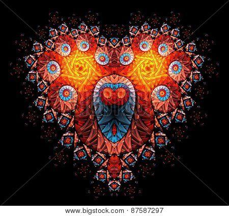 Symbolic diamond heart-shaped red heart that symbolizes love.Fractal art graphics.