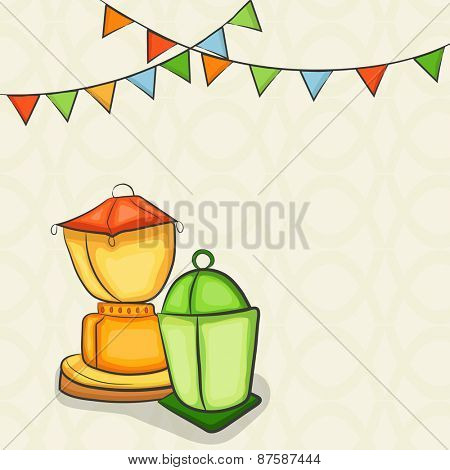 Islamic holy month of prayers, Ramadan Kareem concept with illuminated lanterns on abstract background.