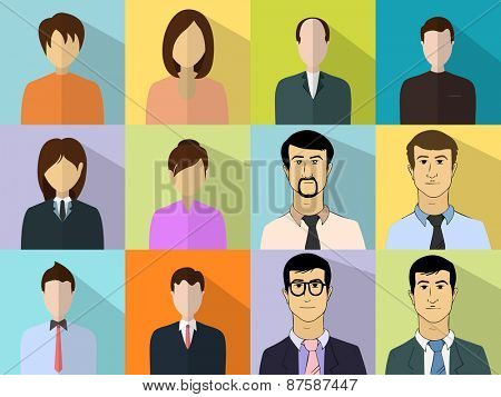 Colorful set of different male and female business characters.