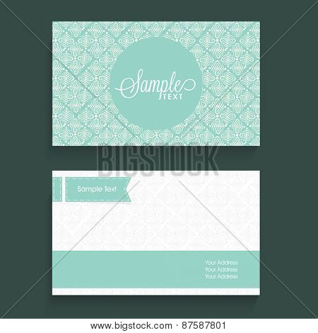 Beautiful business card design with place holders for contact details.