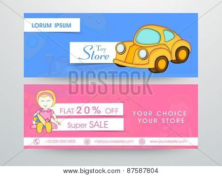 Super sale website header or banner of toy store with toy.