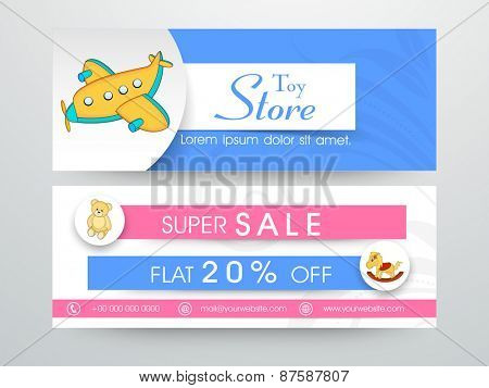 Website header or banner set for toy store with discount offer sale.