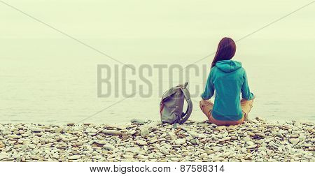 Girl Resting On Coast In Summer