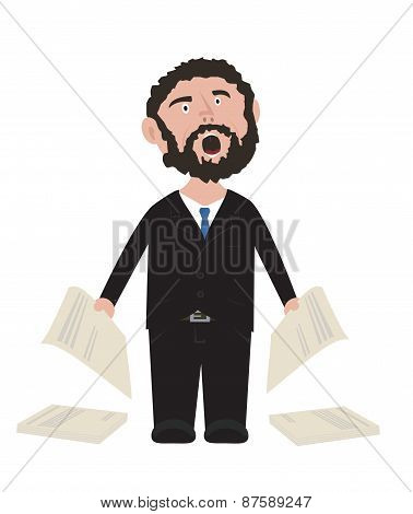 Unshaven Businessman shouting in black suit with blue tie holding contracts cartoon illustration