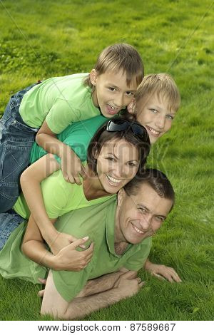cheerful family of four