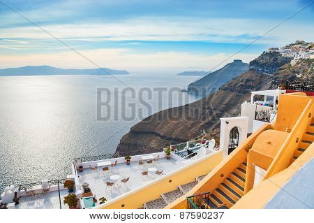 Beautiful Sea View In Fira Town At Sunset