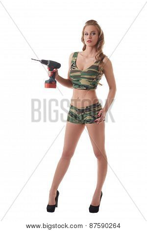 Repair as battle. Sexy model posing with drill
