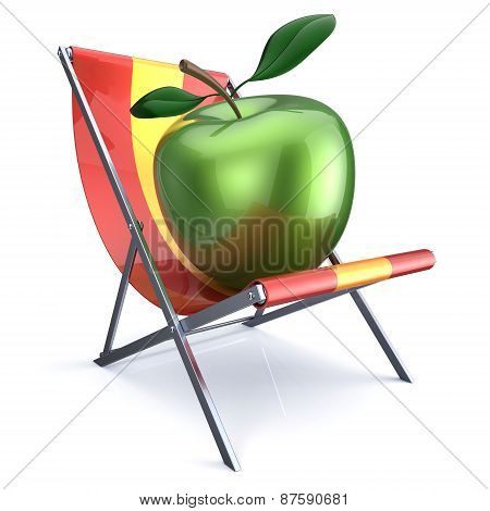 Green Apple Sitting In Beach Chair
