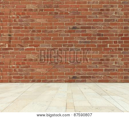 Old red brick wall with stone marble floor