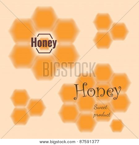 Set Of Blured Honeycomb With Place For Text