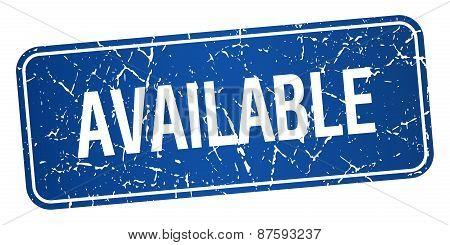 Available Blue Square Grunge Textured Isolated Stamp