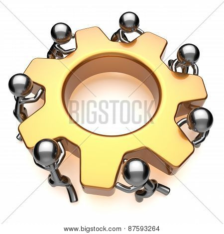 Partnership Teamwork Business Process Workers Turning Gear Together Concept