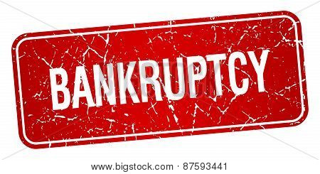 Bankruptcy Red Square Grunge Textured Isolated Stamp