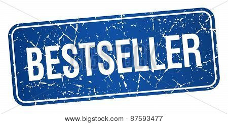 Bestseller Blue Square Grunge Textured Isolated Stamp
