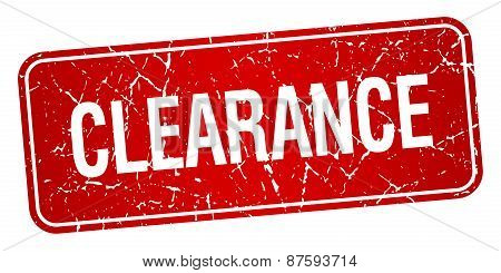 Clearance Red Square Grunge Textured Isolated Stamp