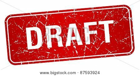 Draft Red Square Grunge Textured Isolated Stamp