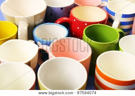 Group of colorful cups, closeup
