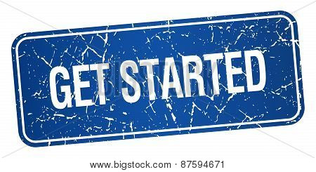 Get Started Blue Square Grunge Textured Isolated Stamp