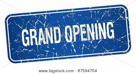 Grand Opening Blue Square Grunge Textured Isolated Stamp