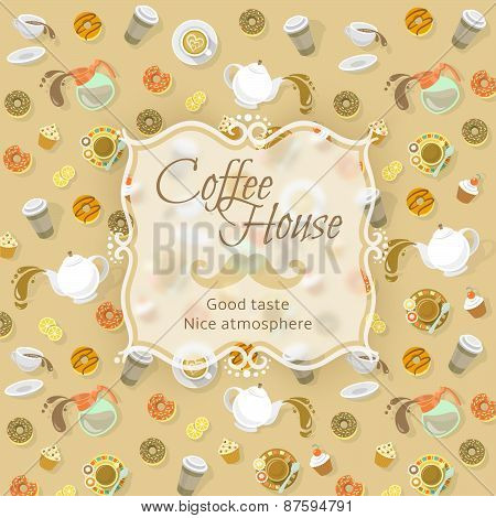 Coffee Shop Label On Food And Drink Background