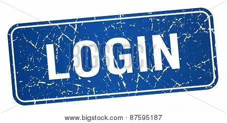 Login Blue Square Grunge Textured Isolated Stamp