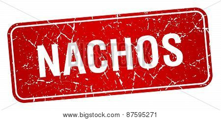Nachos Red Square Grunge Textured Isolated Stamp
