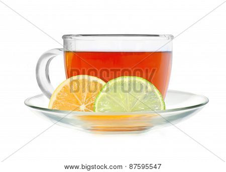 Glass Cup Tea With Lemon And Lime Slices Isolated On A White Background