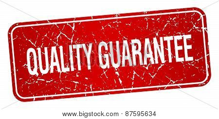 Quality Guarantee Red Square Grunge Textured Isolated Stamp