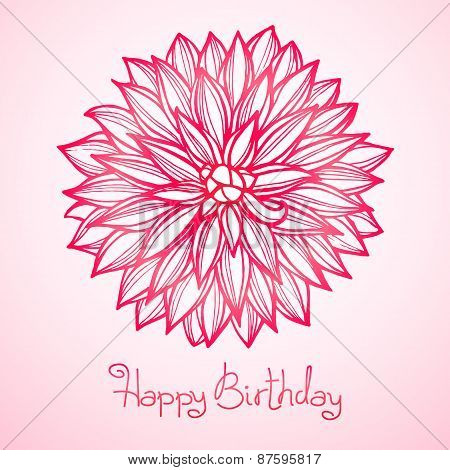 Card with beautiful flower dahlia.