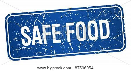Safe Food Blue Square Grunge Textured Isolated Stamp