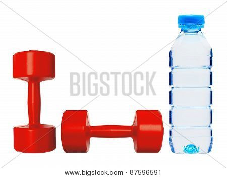 Red Dumbbells Fitness And Bottle Of Water Isolated On White